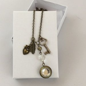 Brass Toned Necklace with Charms